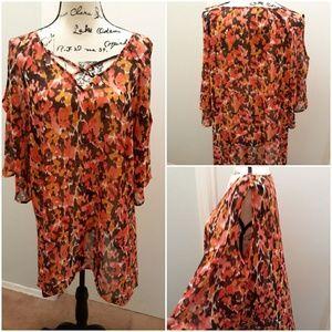 EUC Misia floral cold shoulder blouse 2X